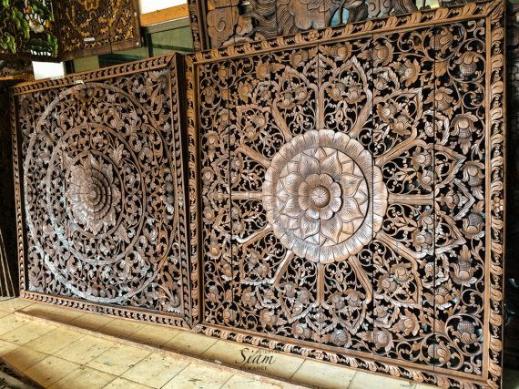 Large Headboard Hand Carved Wood Panel Carving By