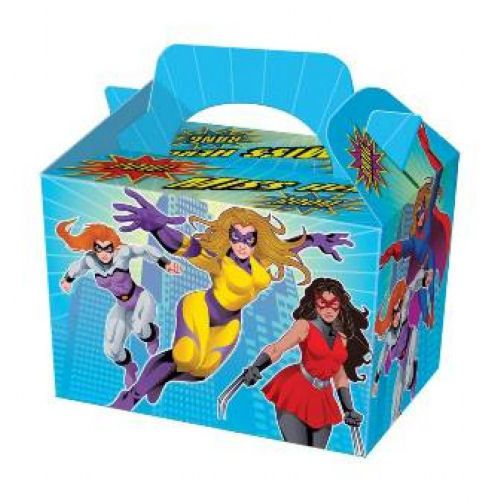 Miss Super Hero Party Lunch Boxes Food Box kid Children Loot Gift Kid Cardboard