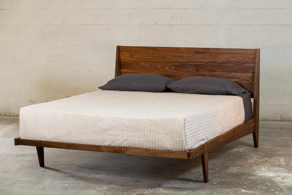 Wood Bed Frame Queen King Mid Century Modern Wood Bed Frame