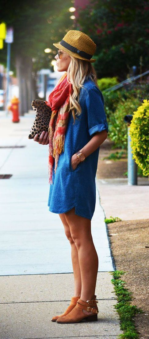 a75618c86b1 Spring   Summer - street style - boho chic style - rolled up sleeves denim shirt  dress + brown cutout booties + coral scarf + brown and black fedora + ...