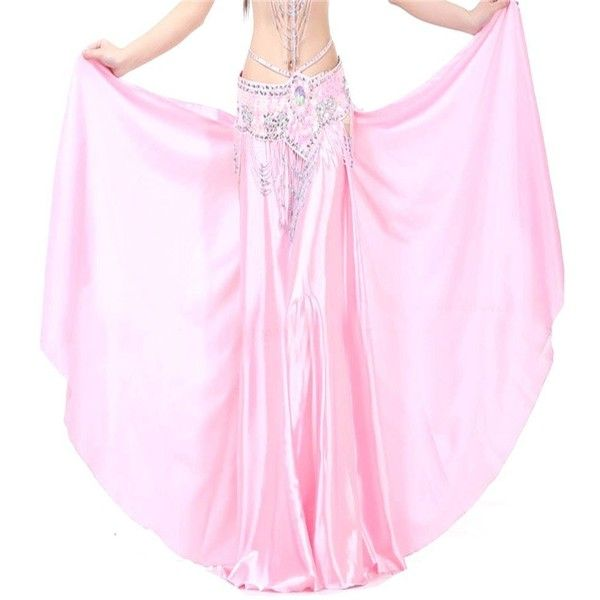 Belly Dance Dual Split Satin Skirt Dancing Dress 17 Colors Costume ($17) ❤ liked on Polyvore featuring costumes, pink halloween costumes, belly dancer costume, belly dancer halloween costume, satin costume and pink costume