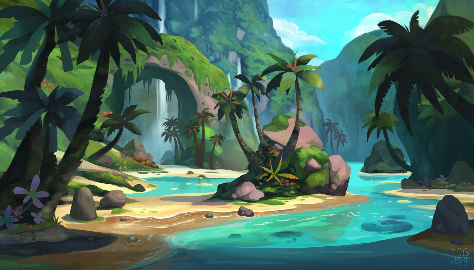 Tropical Environment Yog Joshi On Artstation At Https Www Artstation Com Artwork Mlnba Environment Painting Landscape Concept Moana Concept Art