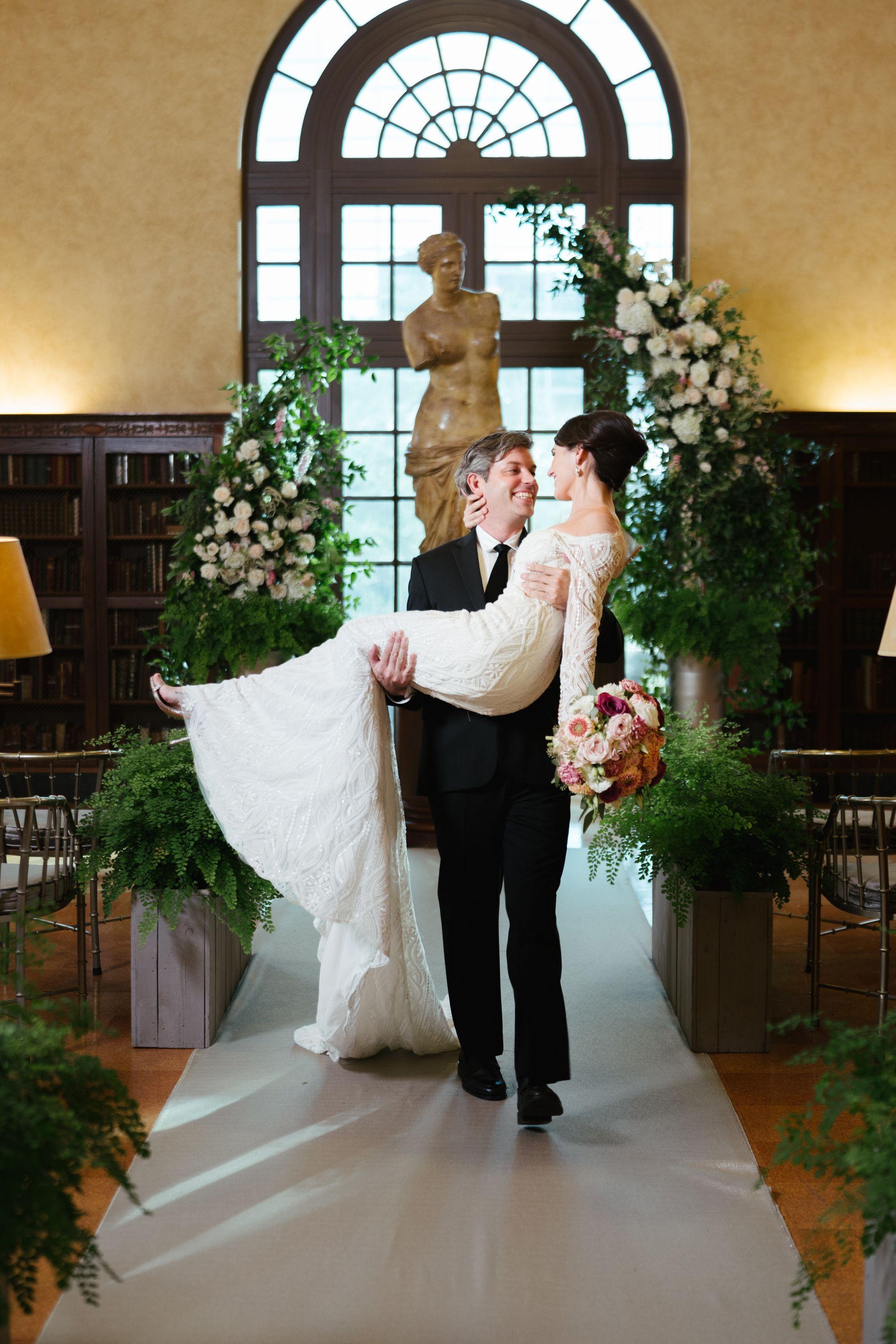 Indoor Houston Garden Wedding Light Pink Floral Wedding Dress