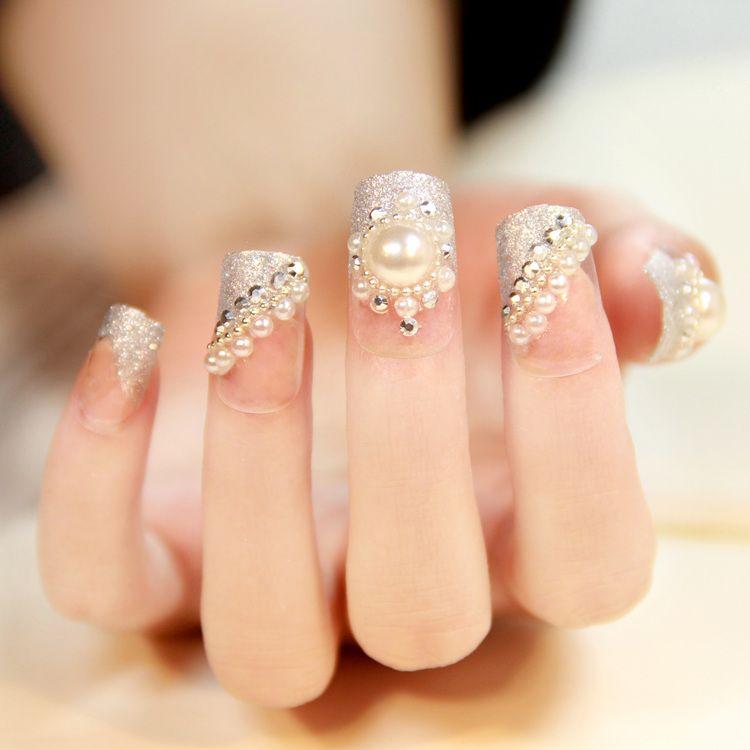 Pin by susana miranda on nena hemoxa pinterest manicure pre designed nails acrylic fake nail tips large pearl rhinestones beautiful nails design wedding style prinsesfo Image collections