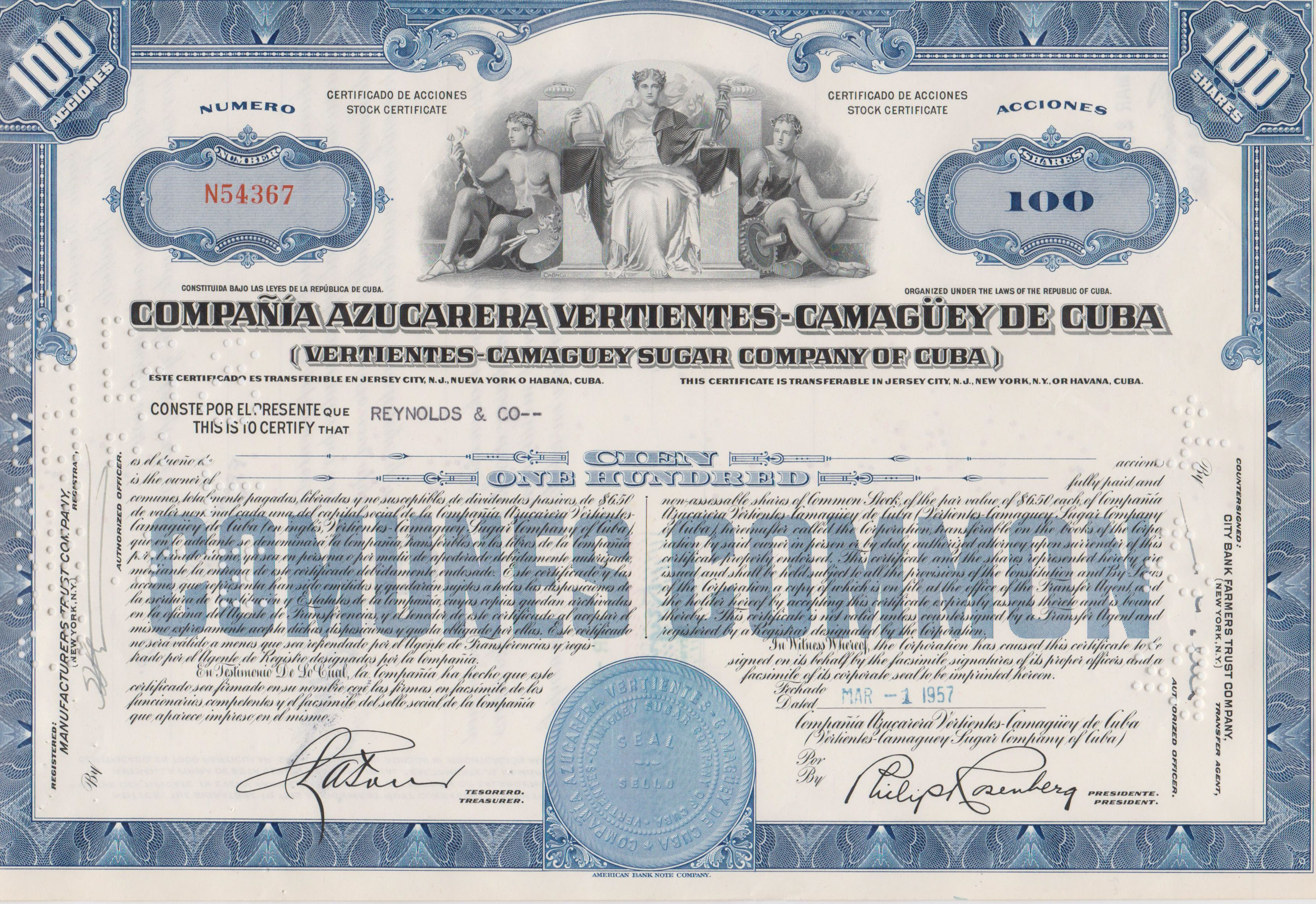 Cuba Sugar Company Stock Certificate Vertientes 100 Acciones Used Stock Certificates Social Security Card Cuba