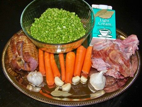 SPLIT PEAS: creamy split pea and ham, garlic, carrot, potato soup