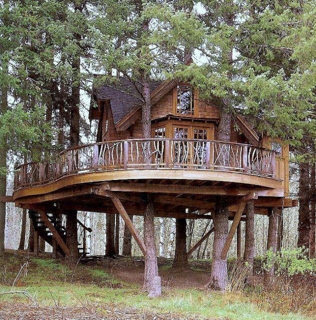 Casa de madera de dos plantas sostenida en los rboles con - Casas en los arboles sant hilari ...