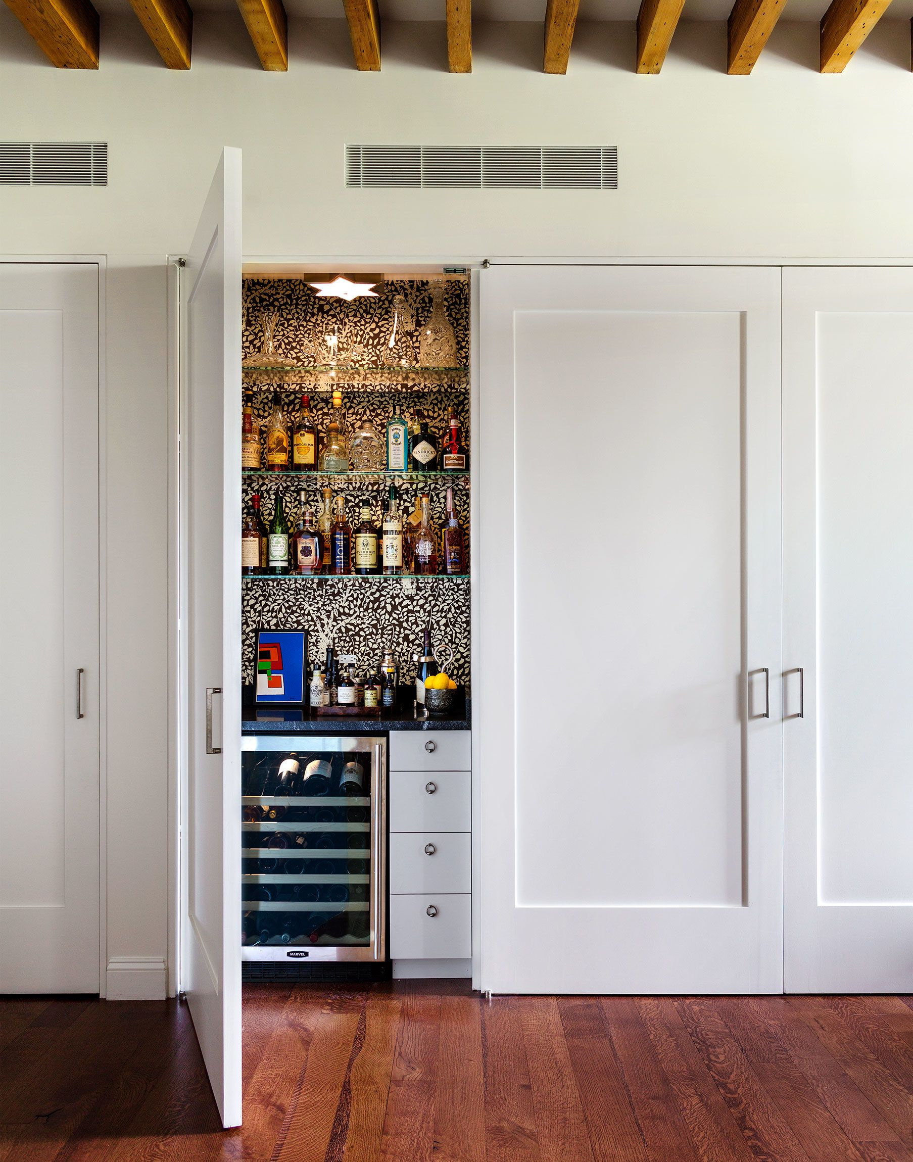 Add Bright Color Accents To Your Home Photos Architectural Digest Closet Bar Hidden