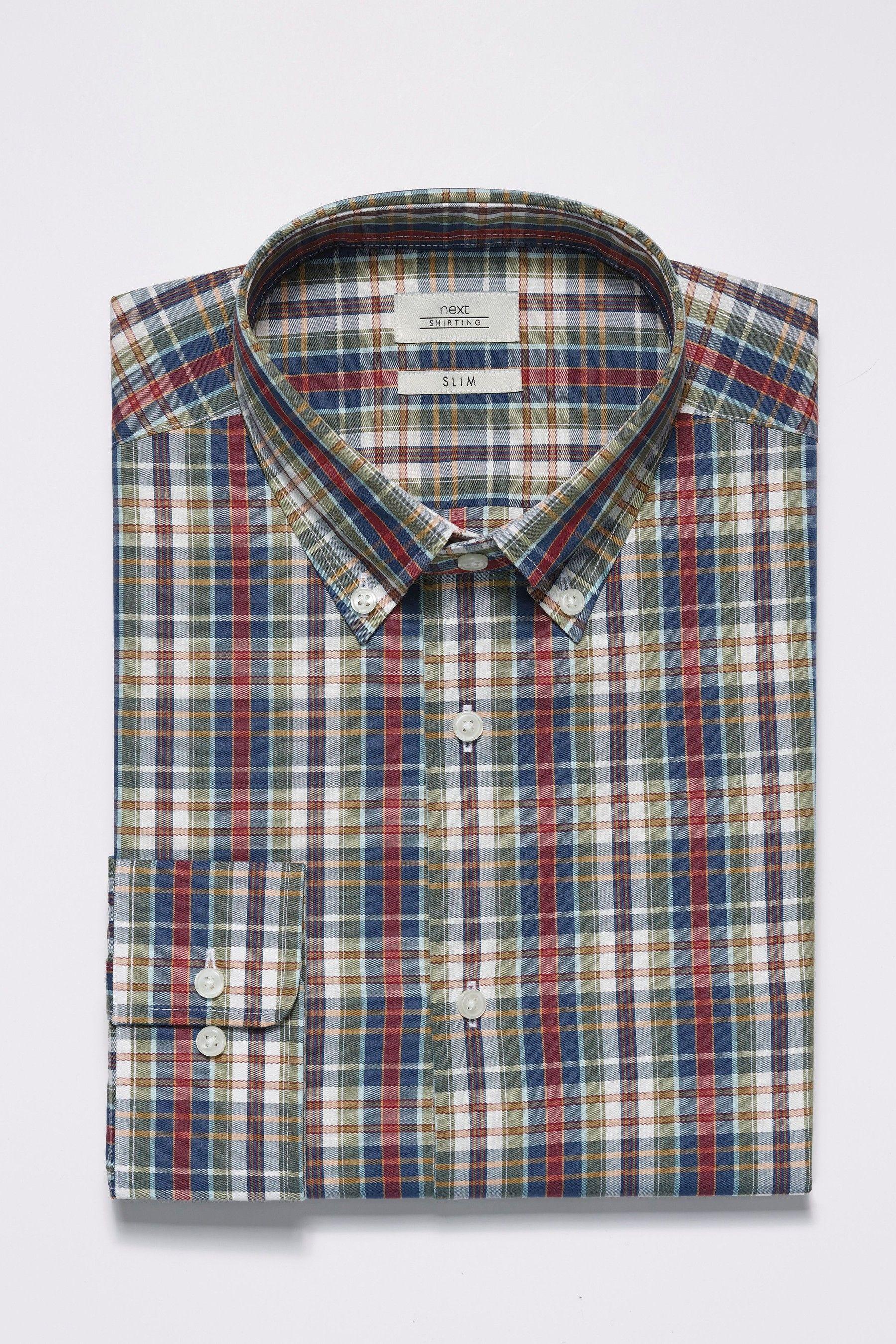 Mens Next Rust Slim Fit Single Cuff Madras Check Shirt