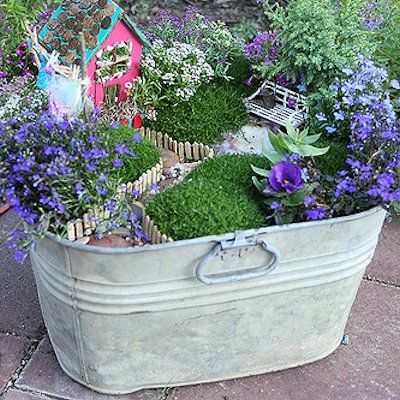 Plant A Fairy Garden In An Old Washtub, Birdbath Or Wagon. On My To Do  List  Iu0027ve Seen Somewhere Where They Use Recycled Bottles To Make Fairy  Houses This ...