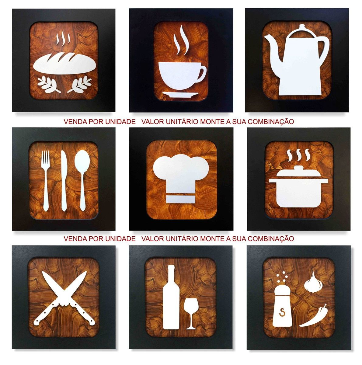6c26eed9ace Conjunto de 9 quadros decorativos para cozinhas