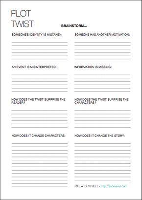 Plot Twists (Writing Worksheet Wednesday) | Escritura