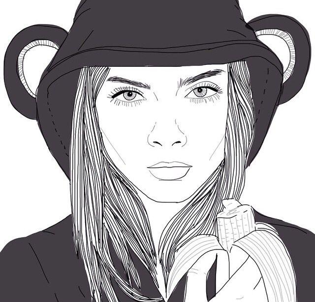 Eyes Girl Hair Lips Outline Outlines Tumblr: Pinterest: @Mer_Elise