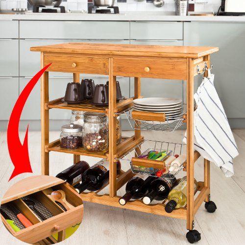 SoBuy XXL Servierwagen aus hochwertigem Bambus,Küchenwagen - küchenwagen mit schubladen