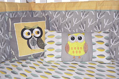 Gender Neutral Crib Bedding Set, Owl Nursery Bedding Yellow