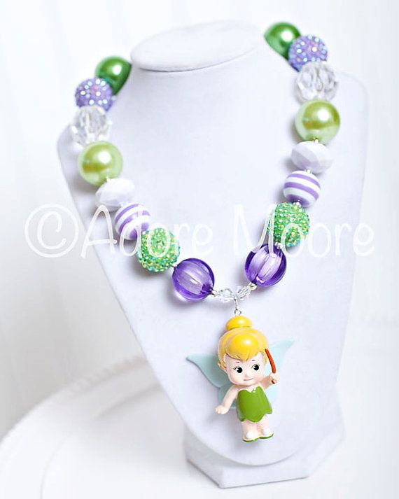 Tinkerbell, Disney Kids Necklace, Chunky Necklace, Chunky Bead Necklace, Child Girls Necklace on Etsy, $22.00