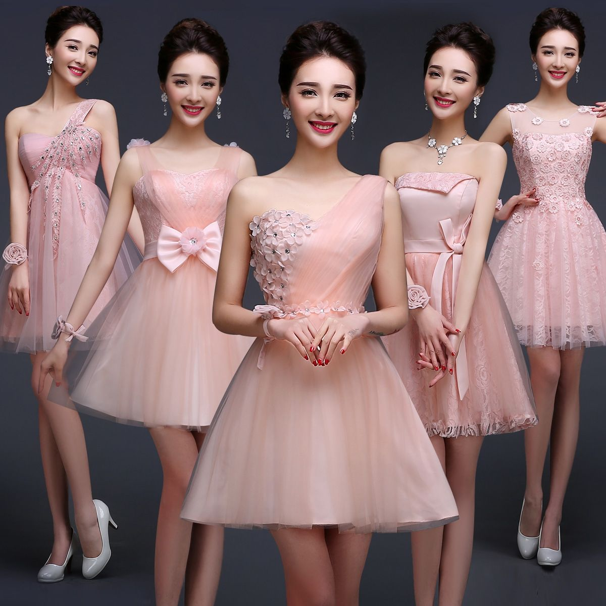 2017 new arrival short bridesmaid dress women pink bridesmaid formal ...