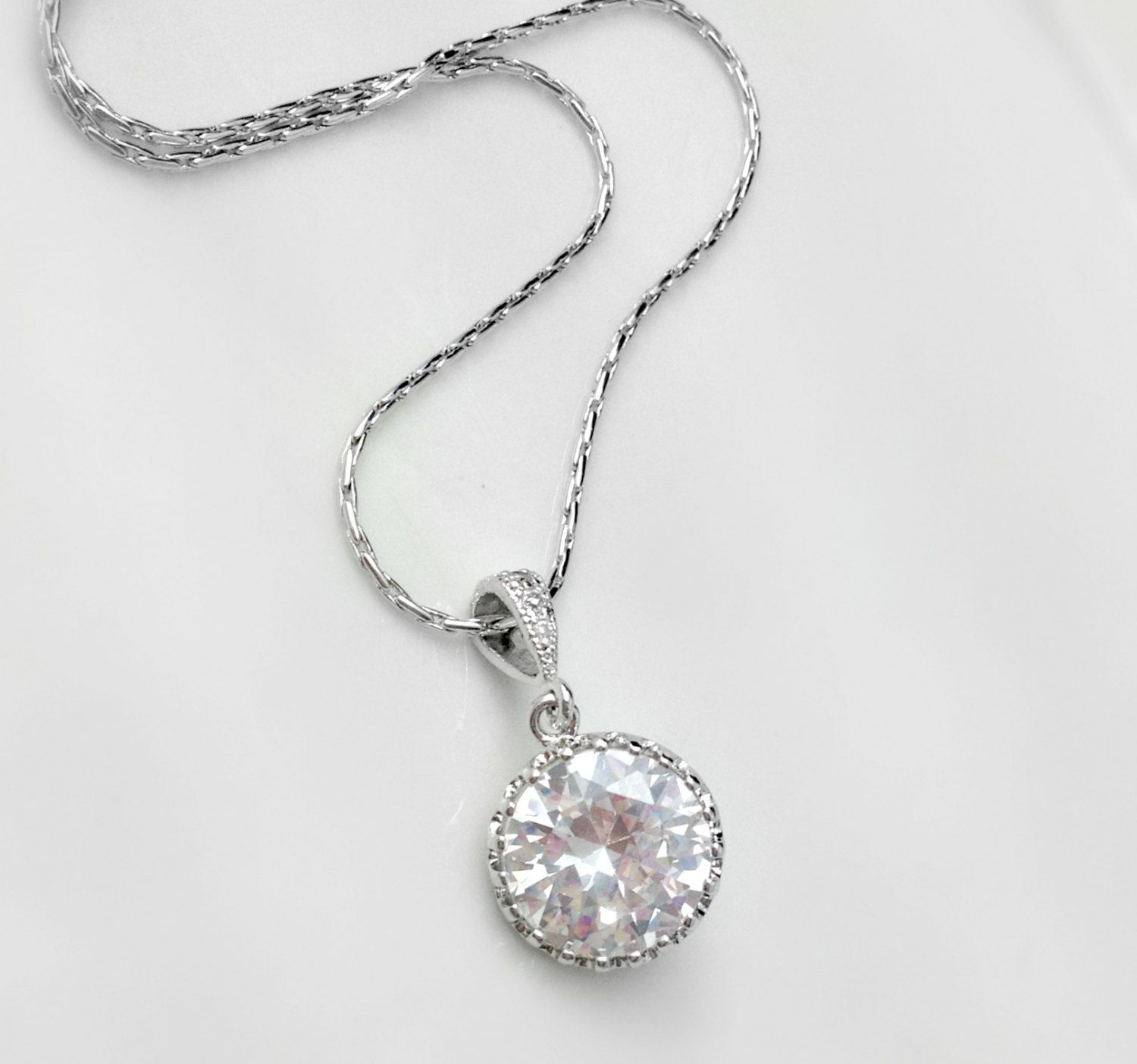 Crystal And White Wedding Theme: White Crystal Bridal Necklace Round Cubic Zirconia Bride