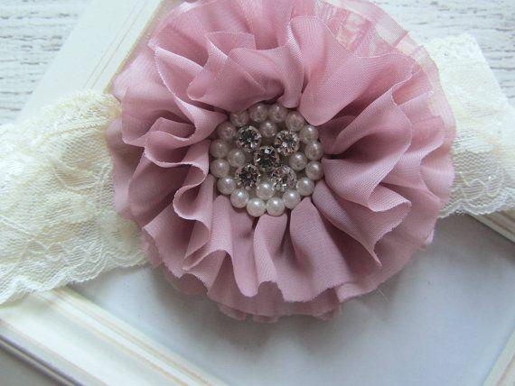 Lace Headband Vintage Pink Chiffon Fancy Flower by avannabelbaby