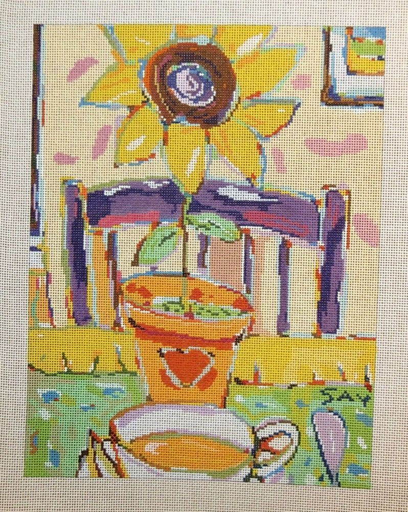 Abstract Sitting Lady HP Design Printed Needlepoint Canvas E#281