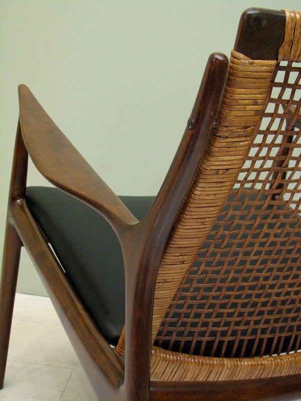 Vintage Danish Modern Walnut Selig Chair Cane Back Mid Century Wegner Eames  Era