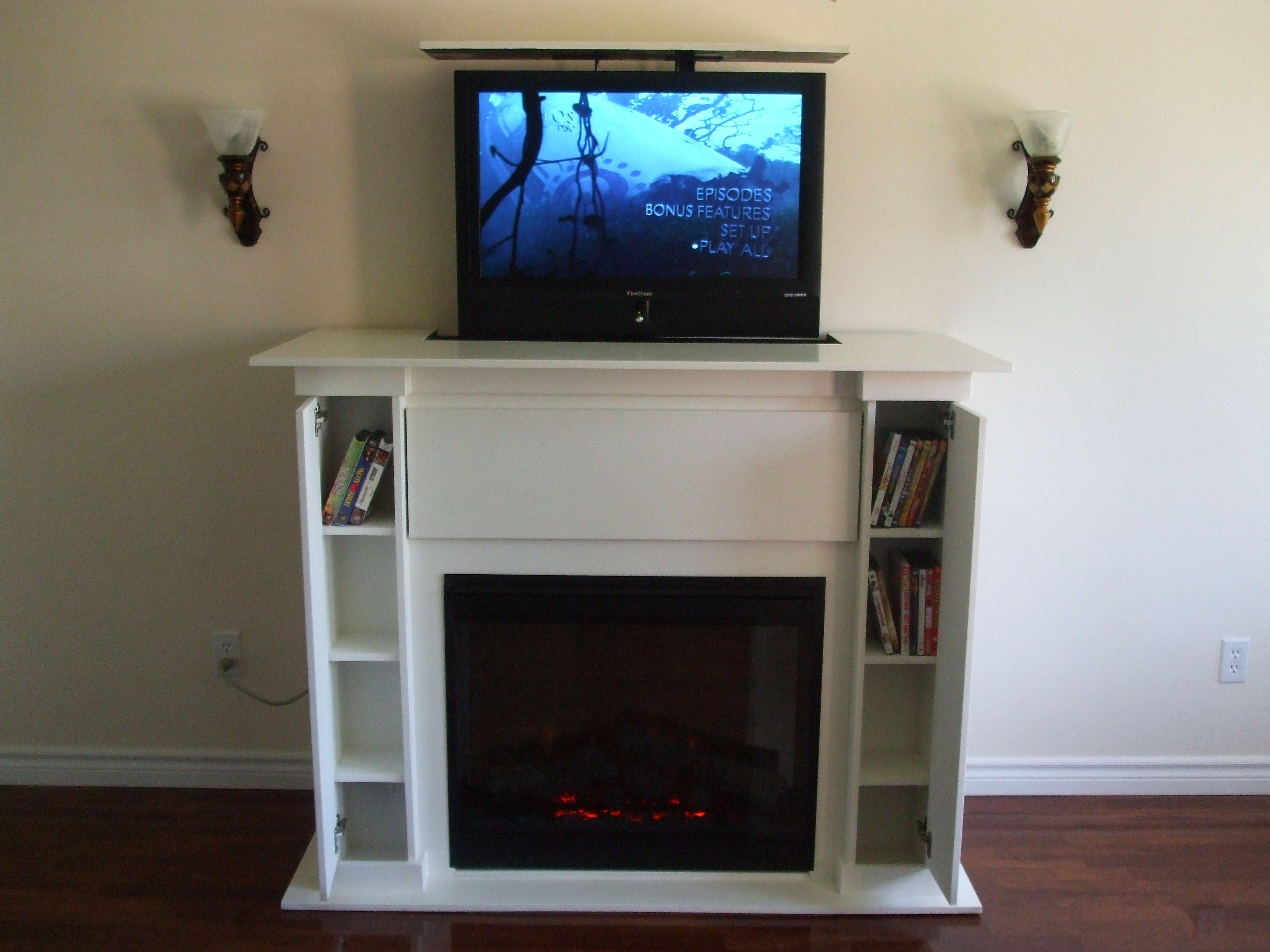 Custom Hidden Fireplace Tv Lift Fireplace Tvlift Cabinet Tv