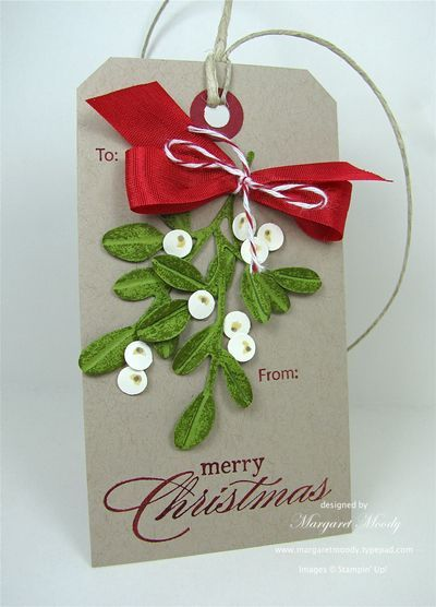 """""""mistletoe"""" SU little leaves sizzlits - Each leaf was rounded off with scissors to create a more authentic look. A score line down the center of each leaf creates a vein and adds dimension. Add a few berries - 1/4 circle punch"""