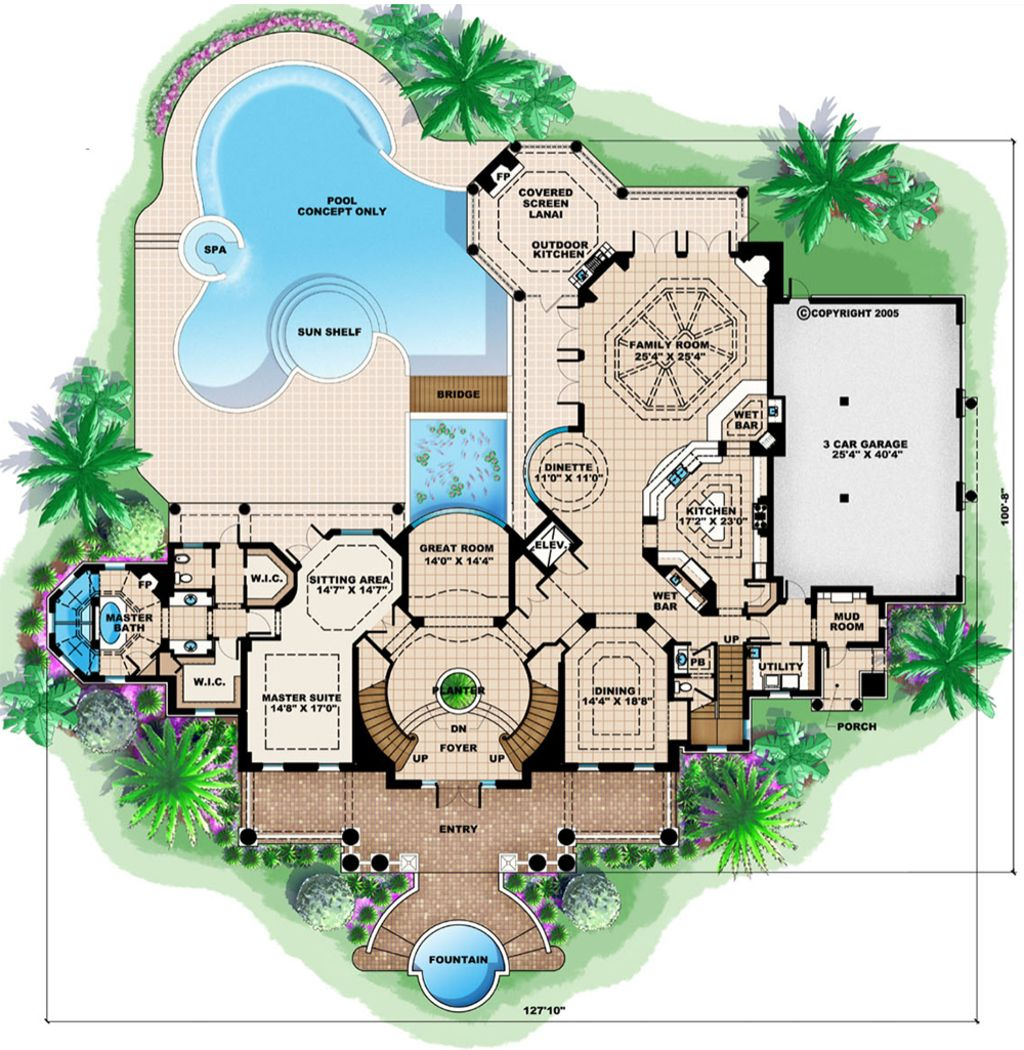 Southern Style House Plan 5 Beds 6 Baths 9992 Sq Ft Plan 27 534 How To Plan Floor Plans House Plans