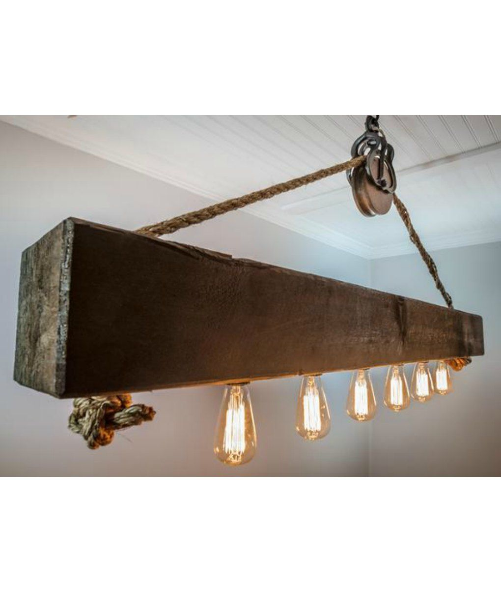 Rustic Wood Beam Chandelier With Edison Bulbs Rope And Pulley