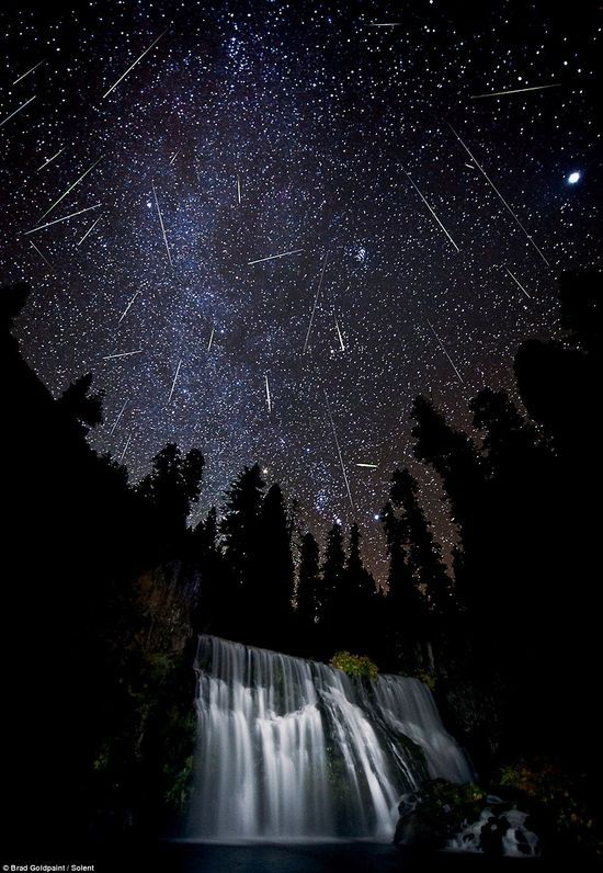 Orionid Meteor shower at Middle Falls, near Mount Shasta in California.