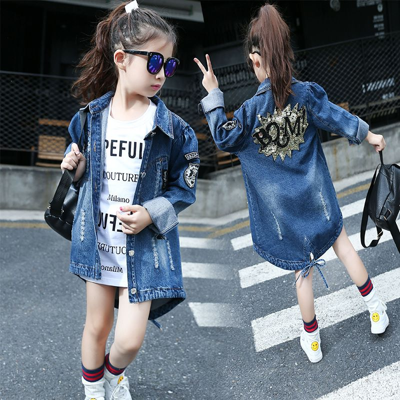 Active 2017 Girl Jacket Denim Kinder Jassen Teenage Clothing 12 Years Old Family Look Matching Family Outfits