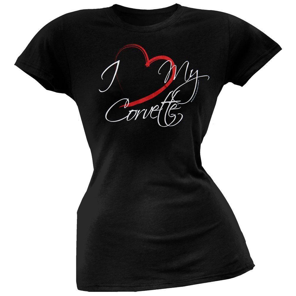Corvette Glitter Stingray Ladies Long Sleeved T-Shirt