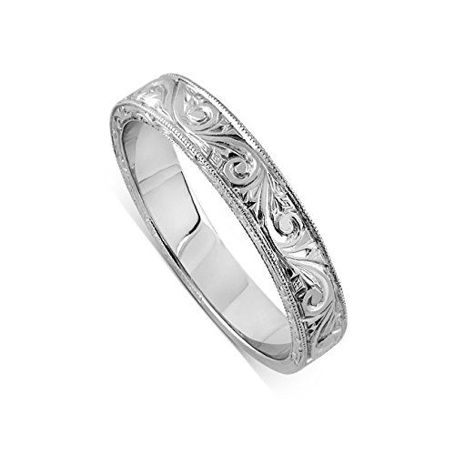 14K White Gold Art Deco Style Engraved Crafted Milgrain Straight Style Wedding Band 2.75mm Wide