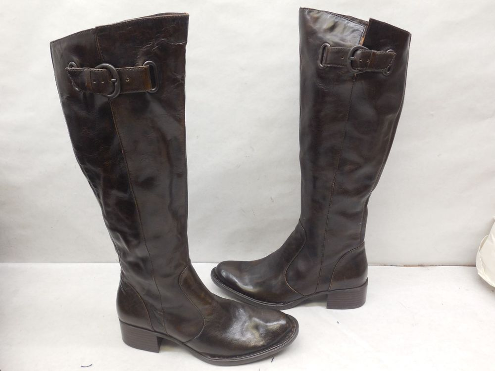 22612bd6945 New Born Crown N09847 Brown Leather Roxie Tall Knee High Riding Boots SZ 5   Born  RidingEquestrian  Casual
