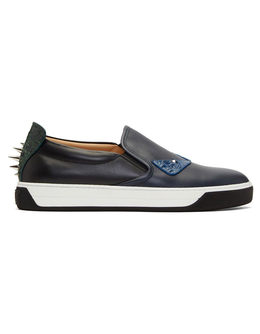 Black and Navy Bag Bugs Slip-On Sneakers Fendi 6e12RktV5