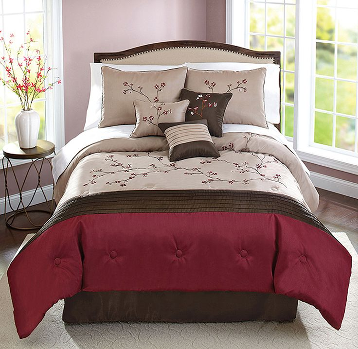 """Red and Beige 7Piece """"Therese"""" Comforter Set from Better"""