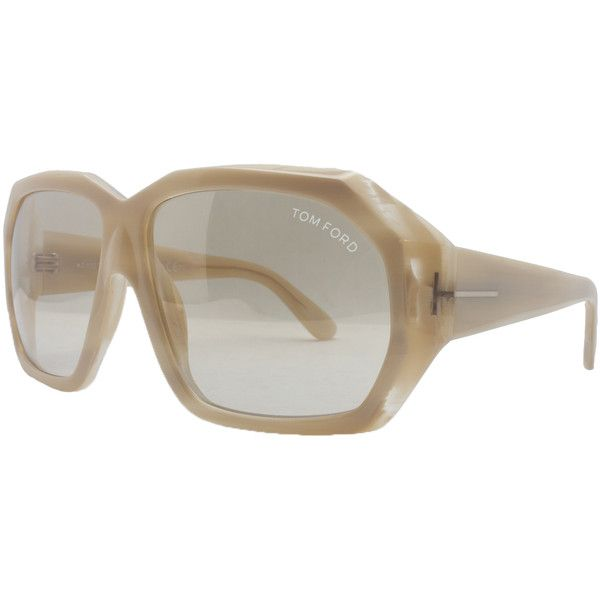 Pre-owned Tom Ford Sunglasses featuring polyvore, fashion, accessories, eyewear, sunglasses, apparel & accessories, clothing accessories, white, white sunglasses, retro style sunglasses, oversized sunglasses, tom ford eyewear and white retro sunglasses