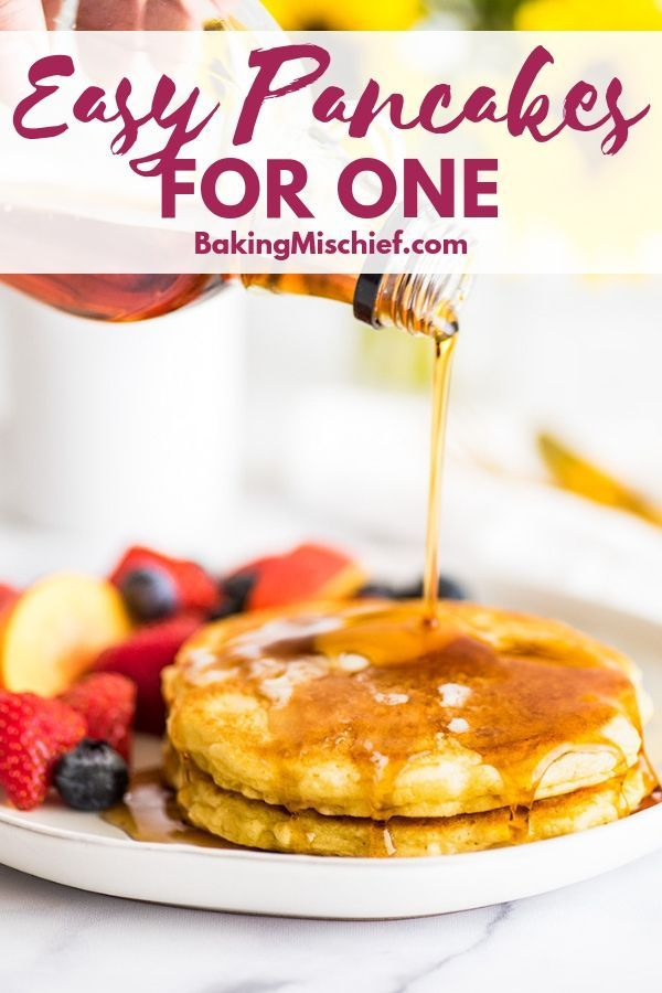 These Pancakes for One are SO good, a super easy breakfast, and perfectly portioned to make just two pancakes. | | | - -