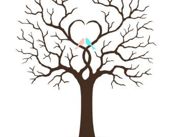 Wedding GuestBook, Family Tree, Fingerprint Guest book, Dandelion ...