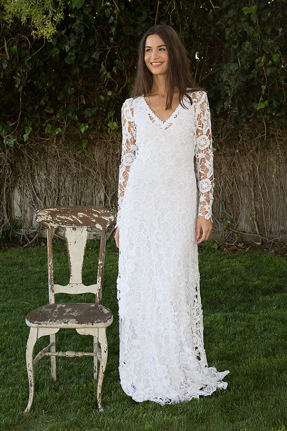 Bohemian Wedding Dress Crochet Lace Long Sleeve Boho Gown Simple Elegant
