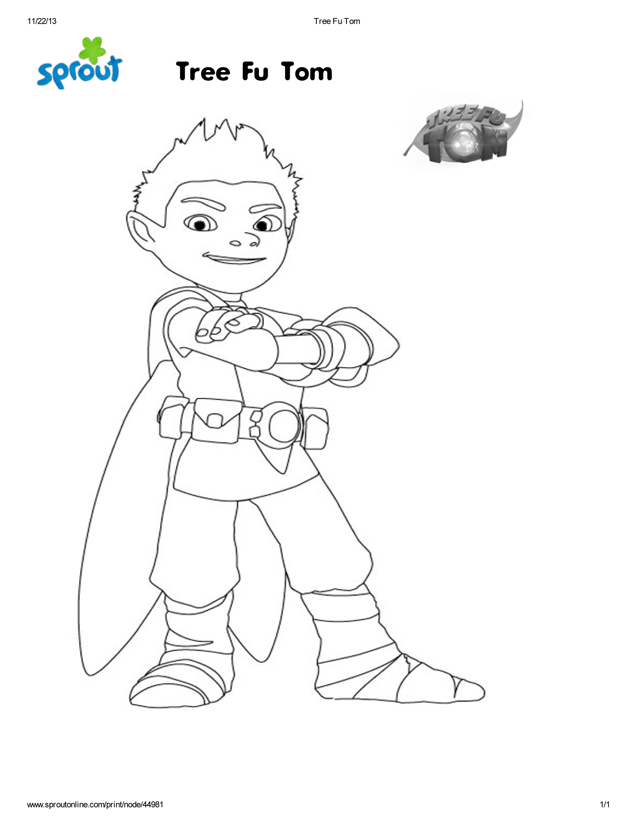 Free Coloring Page Of Tree Fu Tom I Was Selected For This