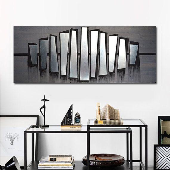 contemporary metal wall art  abstract art  wood wall art  modern painting large wall art