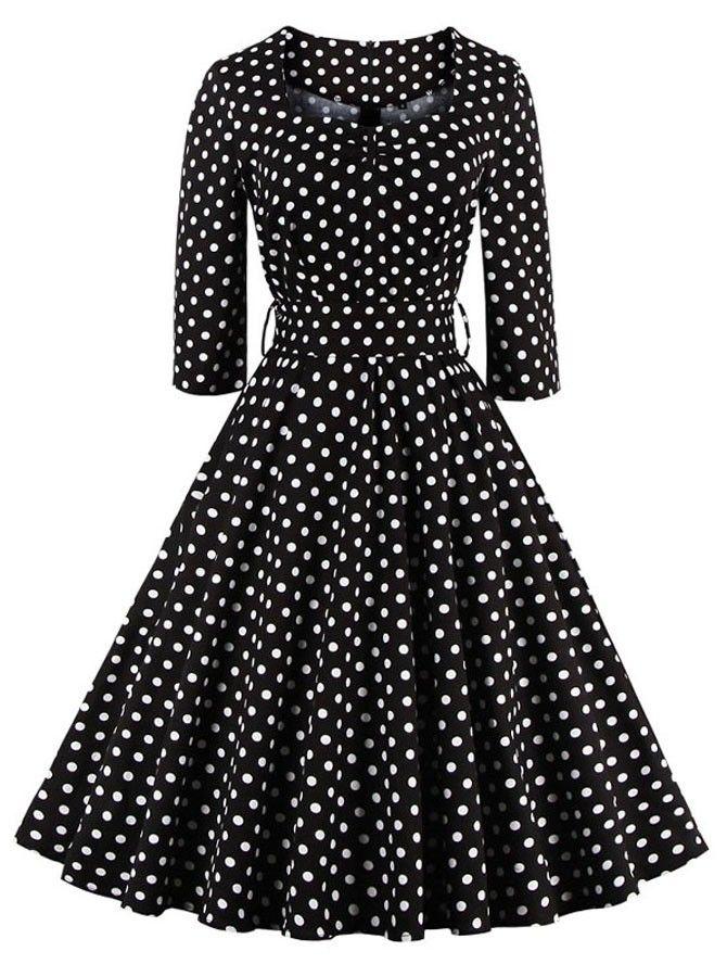 Schwarz 50er Vintage Polka Dots Gürtel Kleid mit Ärmeln ...