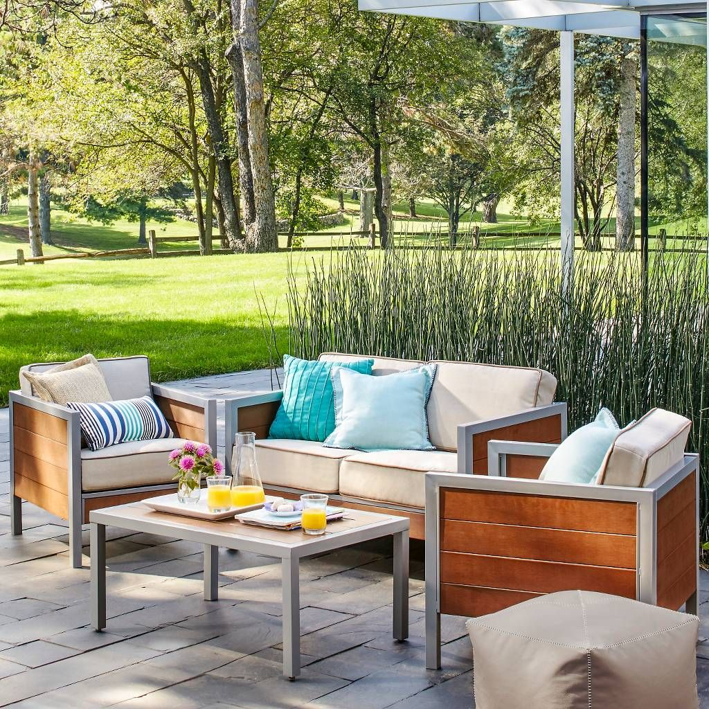 Bryant 4 Piece Faux Wood Patio Conversation Set Threshold Image 1 Of 8 Patio Furniture Collection Outdoor Furniture Sets Inexpensive Outdoor Furniture
