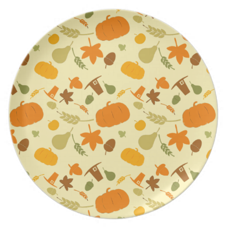 Shop Thanksgiving Harvest Pattern Melamine Plate Created By HolidayPlanet.