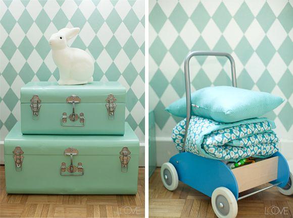 Pastel turquoise hip blauw voor in de jongens babykamer kamer