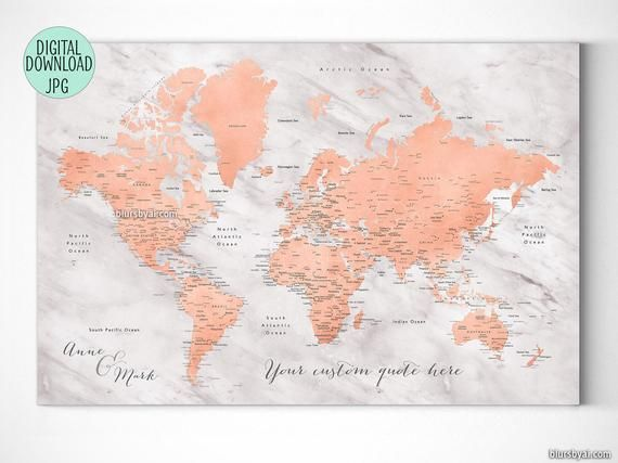 Rose gold world map, printable world map with cities ...