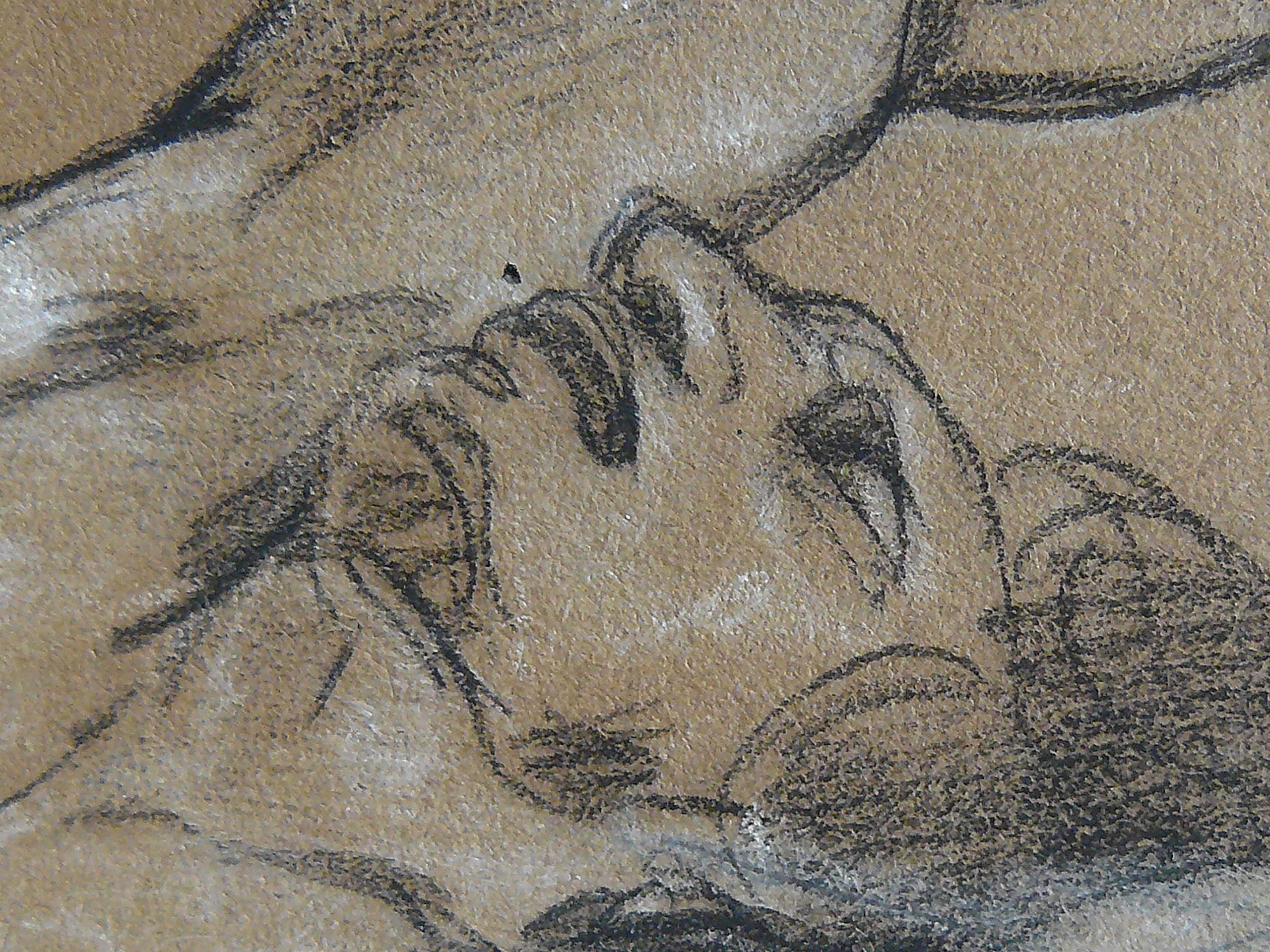 """DELACROIX Eugène,1822 - La Barque de Dante, le Damné, Etude (drawing, dessin, disegno-Louvre RF9174) - Detail 1   -   TAGS : figures details détail détails """"dessins 19e"""" """"19th-century drawings"""" croquis étude study sketch sketches France bark rowboat mer tempête sea storm naufrage amitié friendship drame drama tragedy poet man men nu nude naked """"naked man"""" """"naked men"""" nudity nudité bare """"homme nu"""" survivor danger Hell nightmare cauchemar romantisme romanticism romance"""