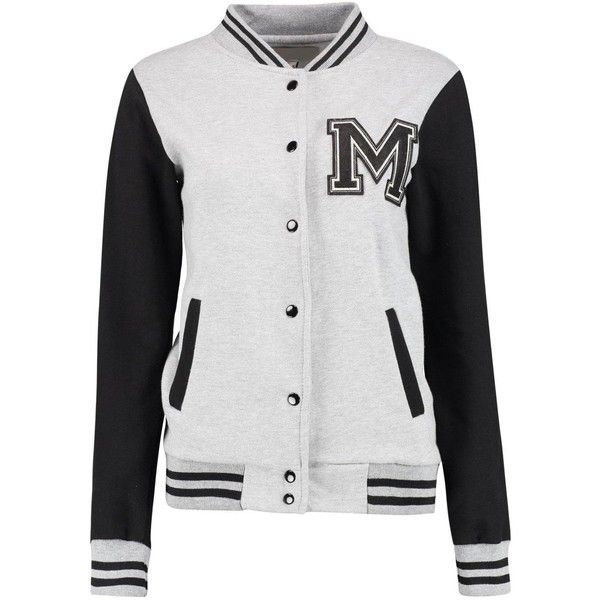 Ella Varsity Bomber Jacket ($26) ❤ liked on Polyvore featuring outerwear, jackets, tops, sweaters, varsity style jacket, teddy jacket, letterman jacket, varsity jacket and college jacket