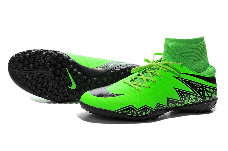 official photos a7bf0 5ab43 Boy Nike Hypervenom Phelon 2 TF High Green Black  86.99